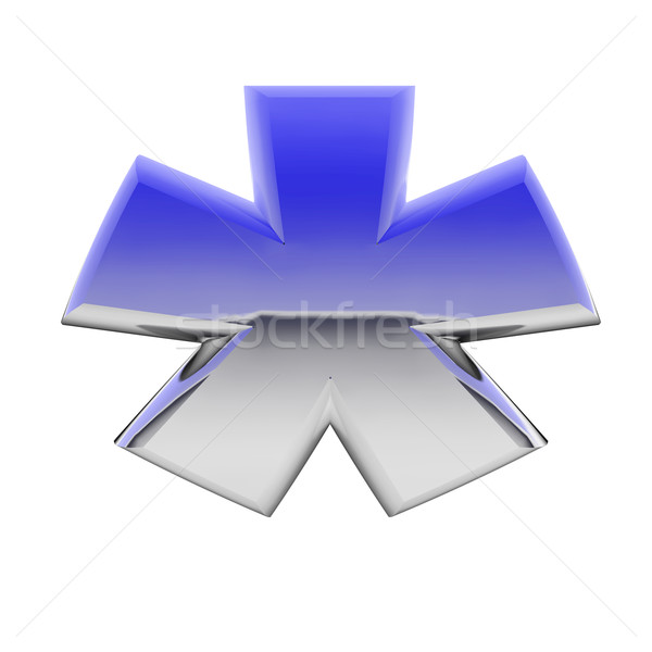 Chrome asterisk sign with color gradient reflections isolated on white Stock photo © oneo