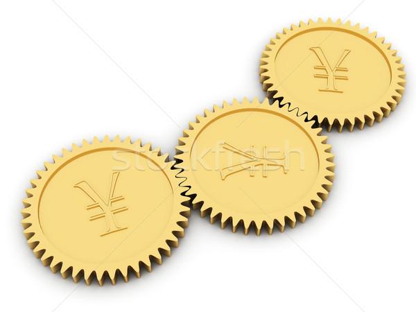 Altın yen dişliler beyaz yüksek karar Stok fotoğraf © oneo
