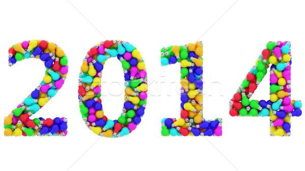 2014 számjegyek színes izolált fehér magas Stock fotó © oneo