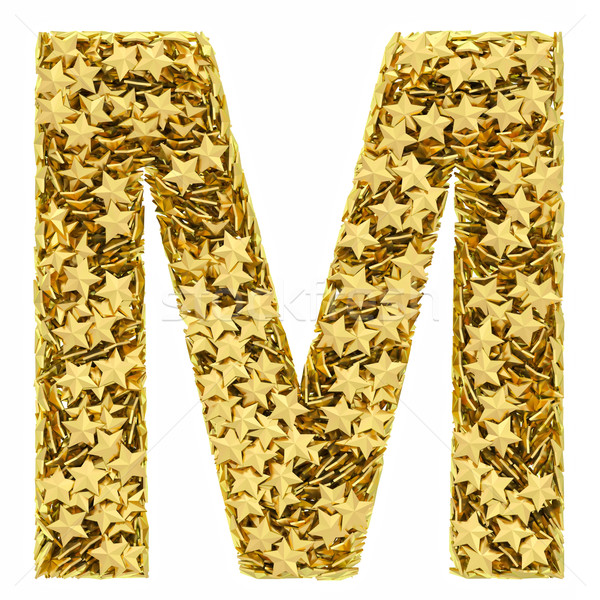 Letter M composed of golden stars isolated on white Stock photo © oneo
