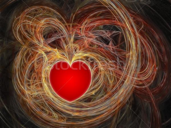 Rood hart fractal golven hoog Stockfoto © oneo