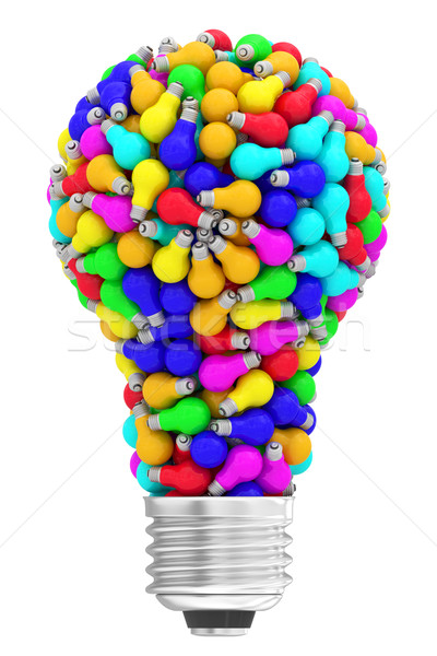 Lightbulb shape composed of many colorful small lightbulbs isolated on white Stock photo © oneo