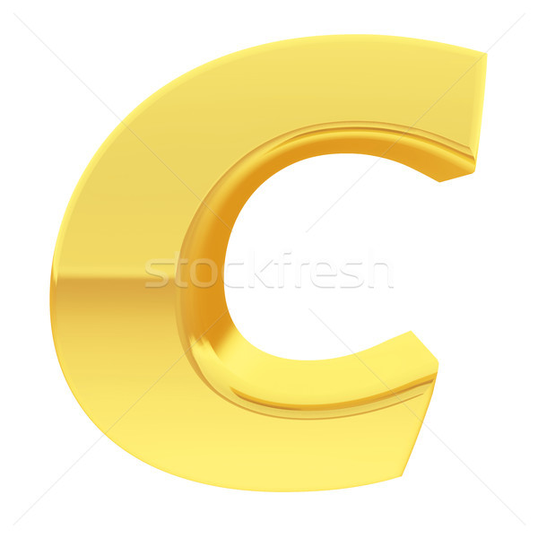 Gold alphabet symbol letter C with gradient reflections isolated on white Stock photo © oneo