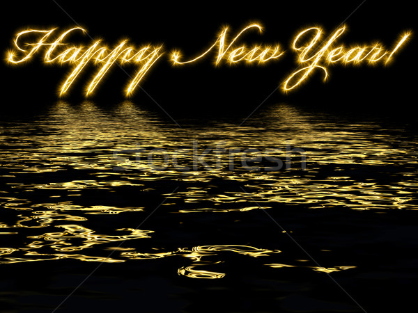 Happy New Year - written with reflection in rippled water Stock photo © oneo