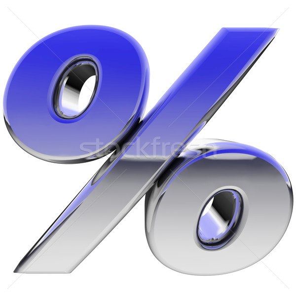 Chrome percent sign with color gradient reflections isolated on white Stock photo © oneo