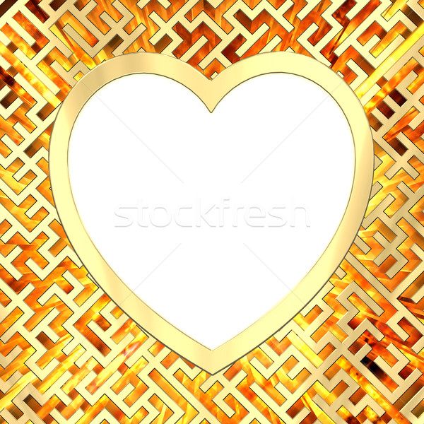 Blank heart shaped frame on maze background with flame Stock photo © oneo