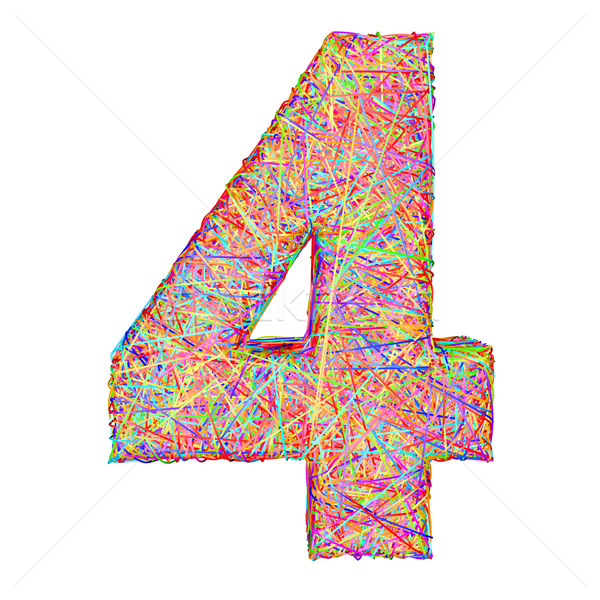 Number 4 composed of colorful striplines isolated on white Stock photo © oneo