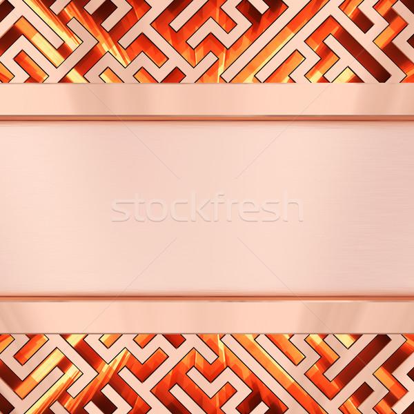 Bronzen plaat doolhof vlam hoog Stockfoto © oneo