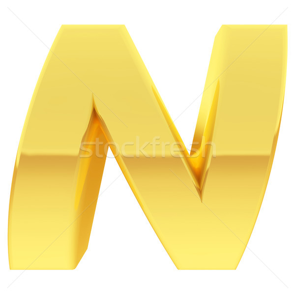 Gold alphabet symbol letter N with gradient reflections isolated on white Stock photo © oneo