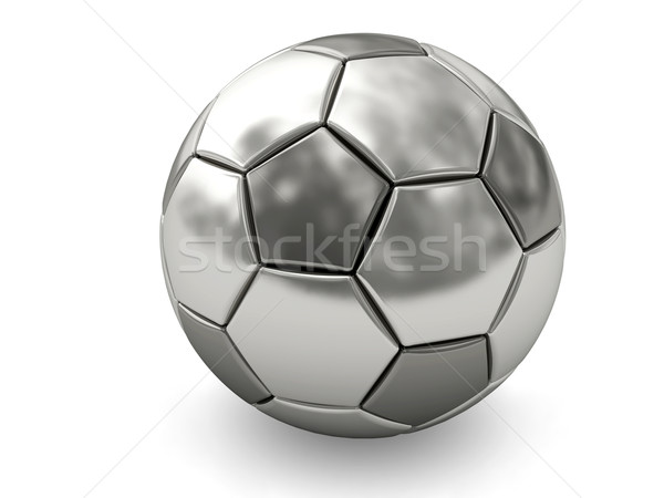 Silver or platinum soccer ball on white Stock photo © oneo