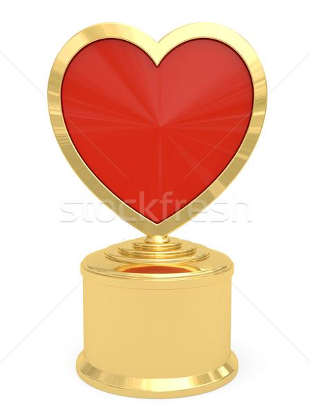 Arany szív alakú díj fehér magas Stock fotó © oneo