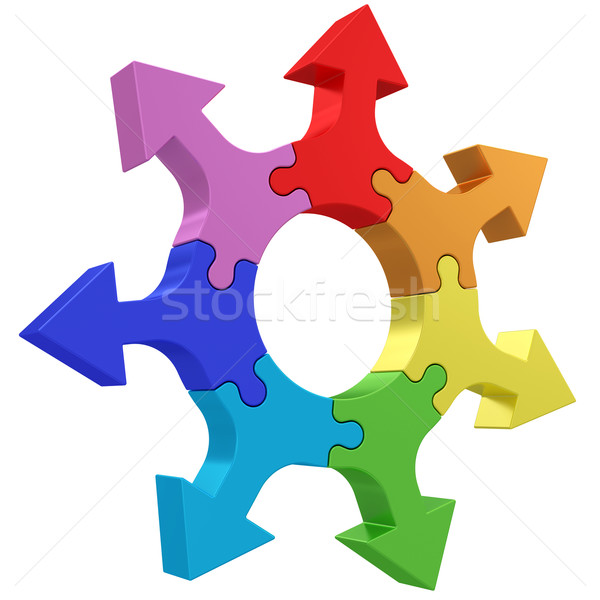 Colorful arrows joined into jigsaw puzzle wheel on white Stock photo © oneo