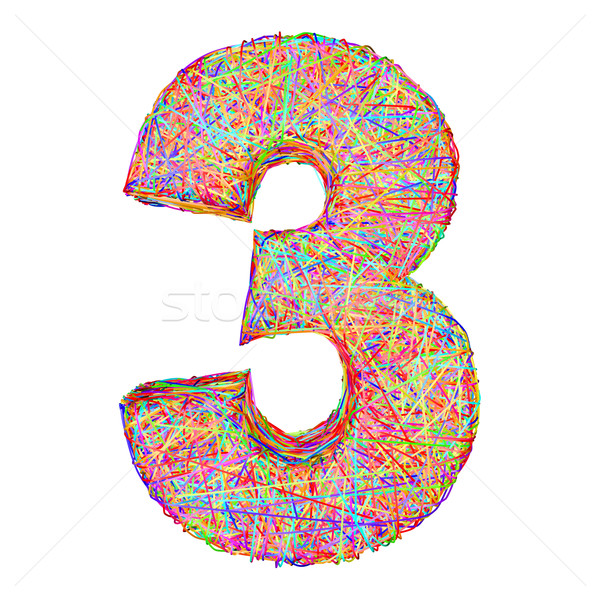 Number 3 composed of colorful striplines isolated on white Stock photo © oneo