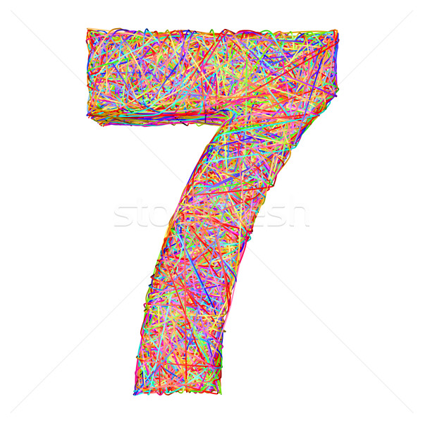 Number 7 composed of colorful striplines isolated on white Stock photo © oneo