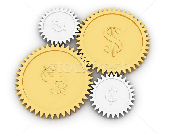 Golden dollar and cent gears on white Stock photo © oneo