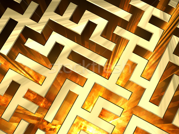 Golden labyrinth with flame. High resolution 3D image Stock photo © oneo