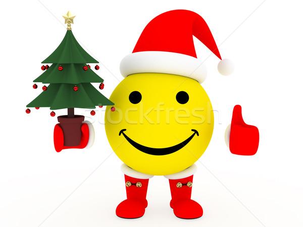 Glückliches Gesicht Kostüm Weihnachtsbaum Hand weiß groß Stock foto © oneo