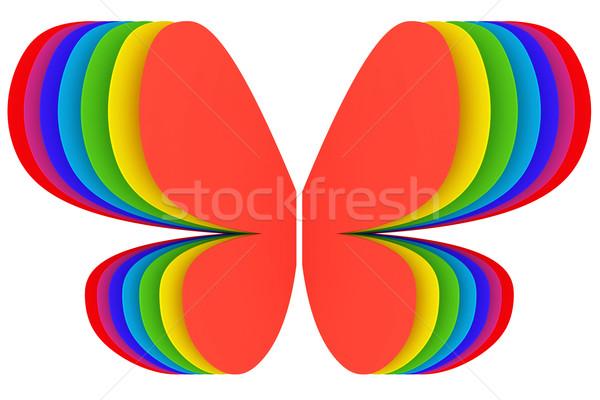 Stock fotó: Pillangó · forma · szimbólum · szívárványszínű · fehér · magas