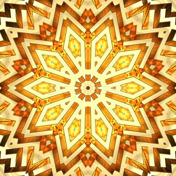 Brilhante dourado caleidoscópio estrela alto Foto stock © oneo