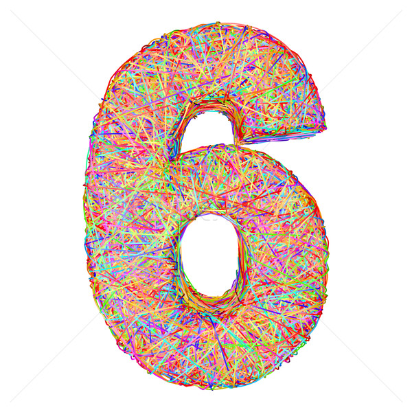 Number 6 composed of colorful striplines isolated on white Stock photo © oneo