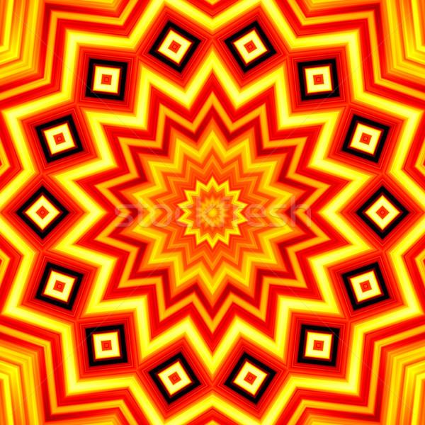 Yellow-red star kaleidoscope background Stock photo © oneo