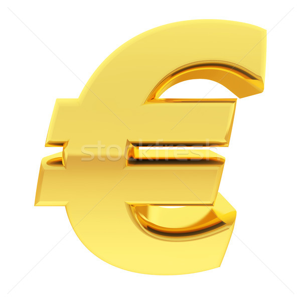 Gold euro sign with gradient reflections isolated on white Stock photo © oneo