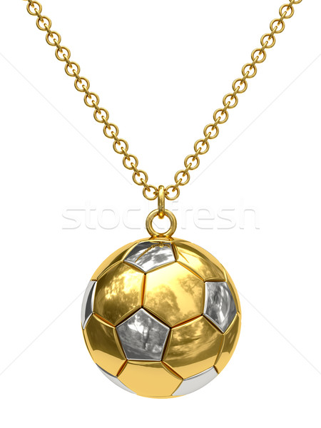 Gold pendant in shape of soccer ball on chain Stock photo © oneo