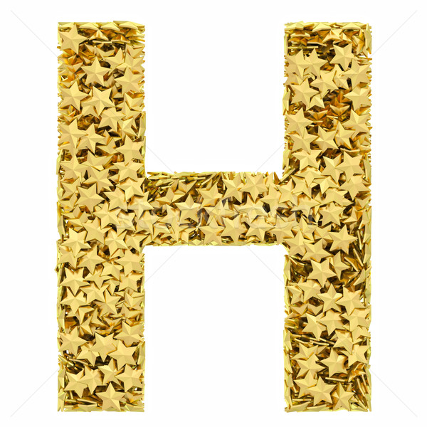 Letter H composed of golden stars isolated on white Stock photo © oneo