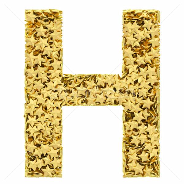 Letra h dorado estrellas aislado blanco alto Foto stock © oneo