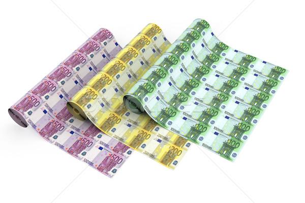 Euros billetes blanco alto Foto stock © oneo