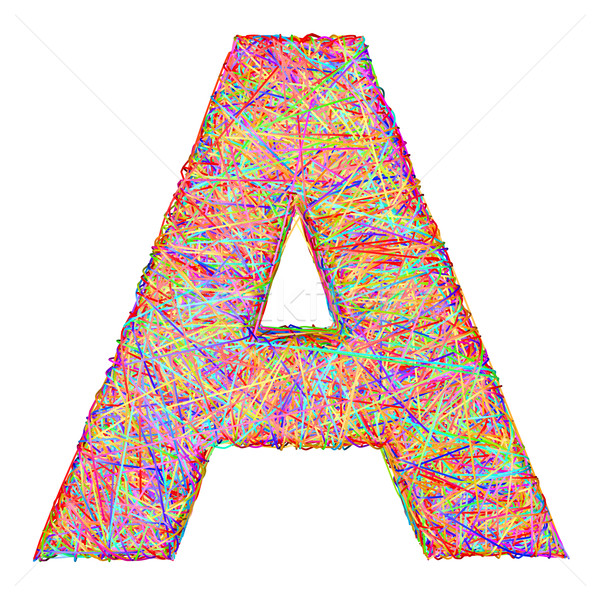 Alphabet symbol letter A composed of colorful striplines Stock photo © oneo