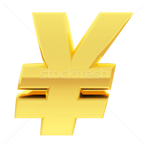 Gold Yen sign with gradient reflections isolated on white Stock photo © oneo
