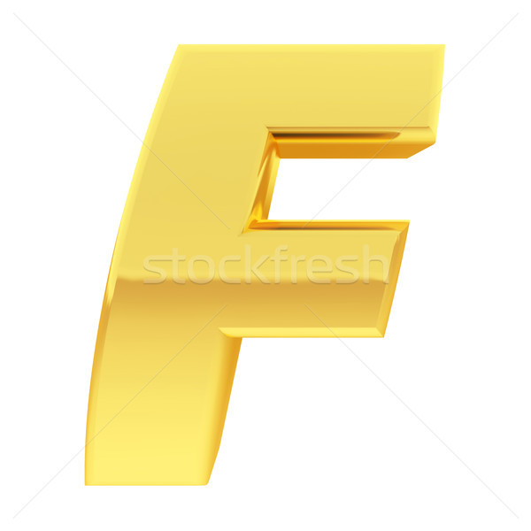 Gold alphabet symbol letter F with gradient reflections isolated on white Stock photo © oneo