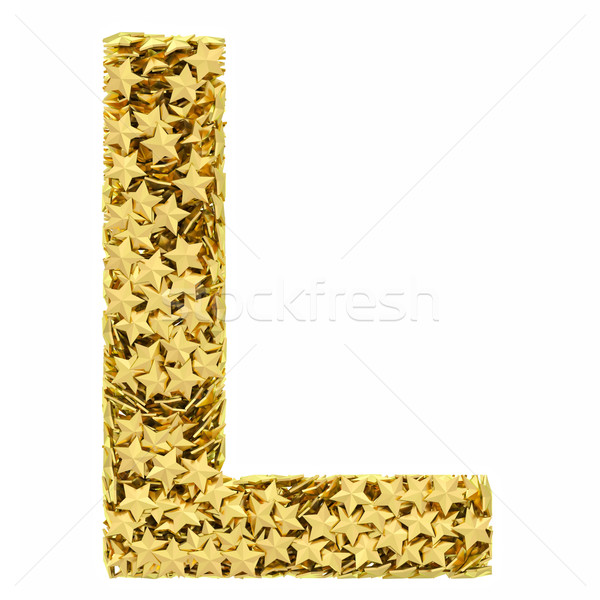 Stock photo: Letter L composed of golden stars isolated on white