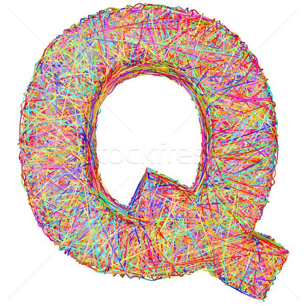 ábécé szimbólum q betű színes izolált fehér Stock fotó © oneo