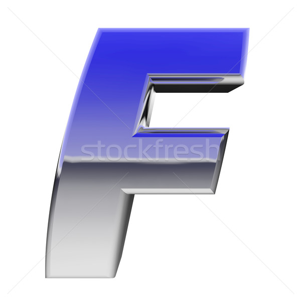Chrome alphabet symbol letter F with color gradient reflections isolated on white Stock photo © oneo