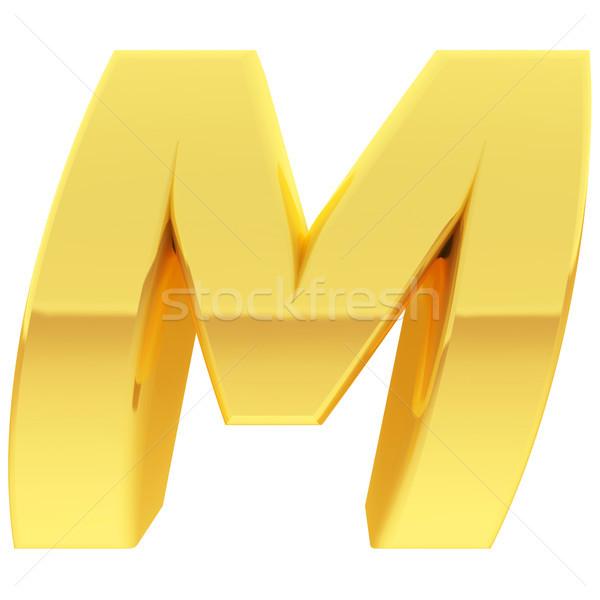золото алфавит символ буква М градиент Размышления Сток-фото © oneo