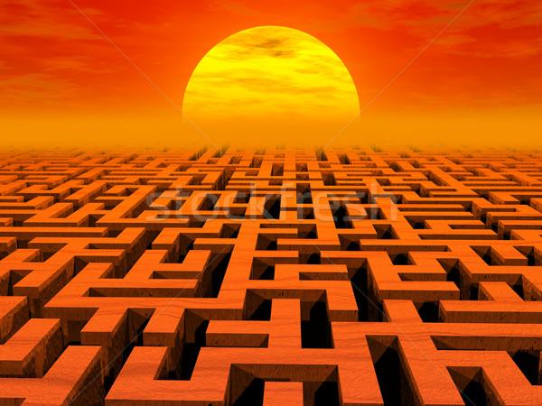 Labyrint zonsondergang hoog 3D afbeelding Stockfoto © oneo