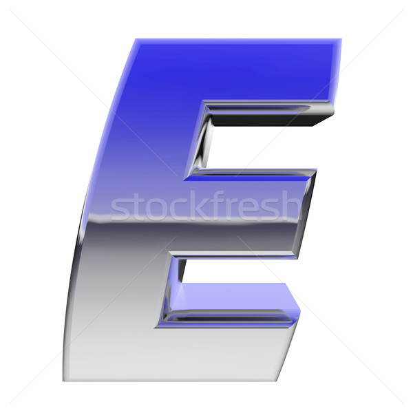 Chrome alphabet symbol letter E with color gradient reflections isolated on white Stock photo © oneo