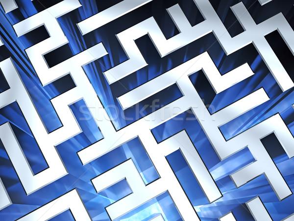 Metallic maze background with blue flame Stock photo © oneo