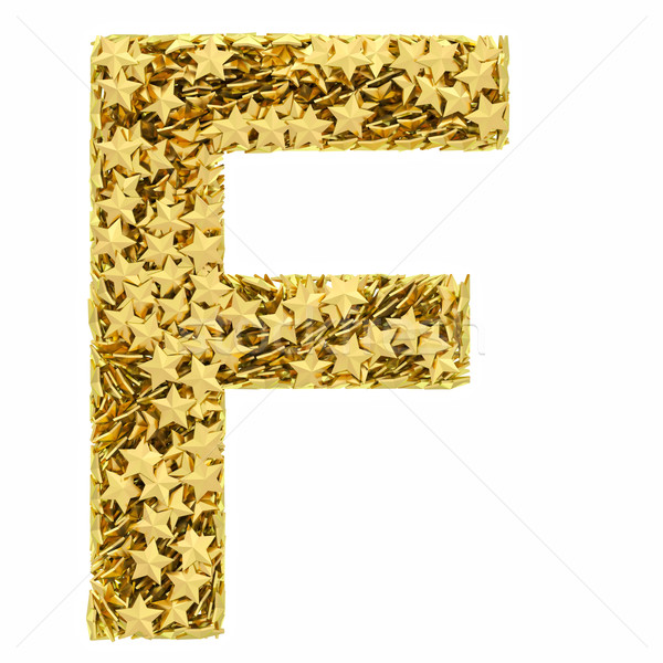Letter F composed of golden stars isolated on white Stock photo © oneo