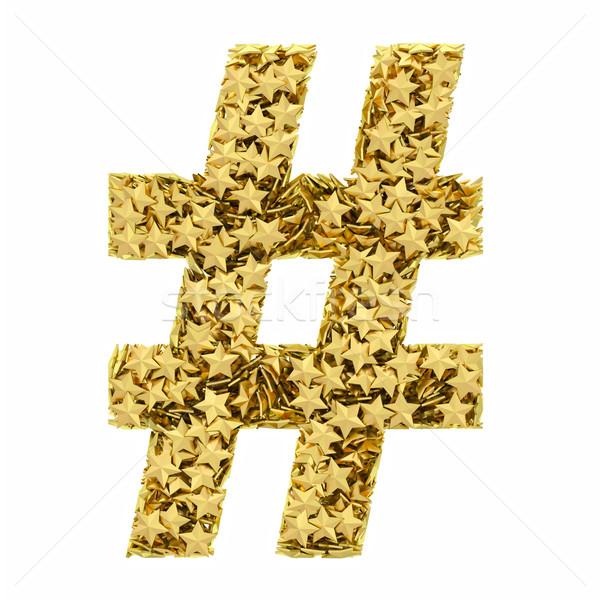 Aantal teken gouden sterren geïsoleerd witte Stockfoto © oneo