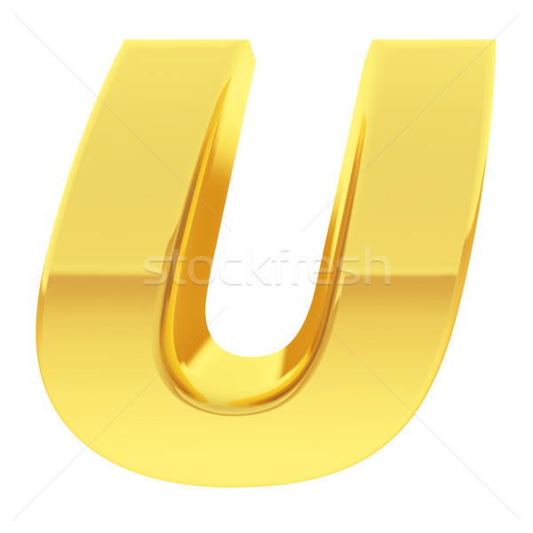 Stock photo: Gold alphabet symbol letter U with gradient reflections isolated on white