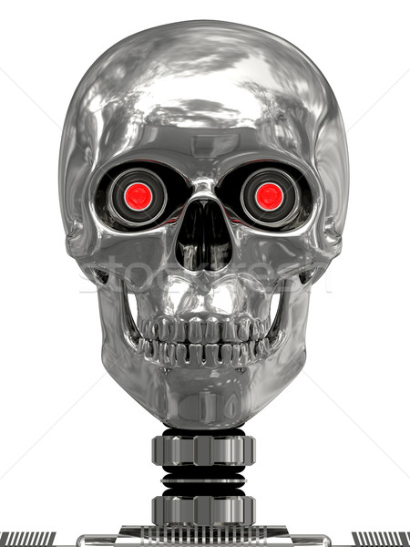 Metallic cyborg head with red eyes Stock photo © oneo