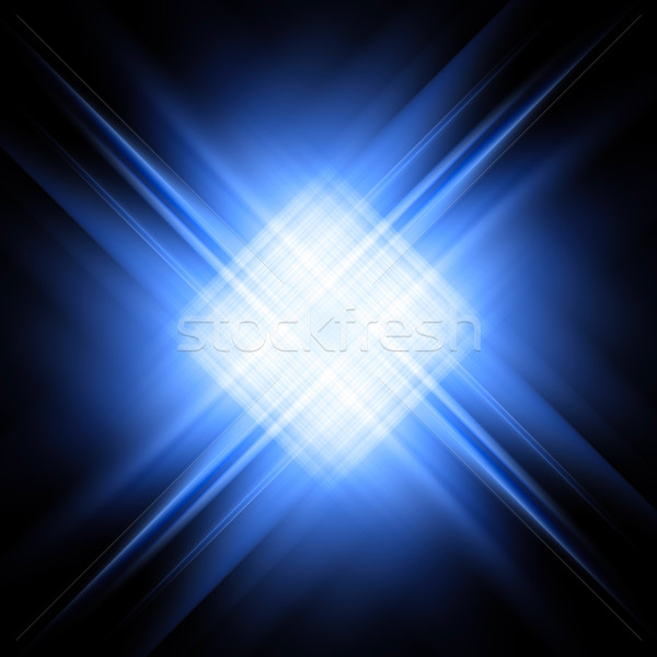 Diagonal blue and white rays on black Stock photo © oneo