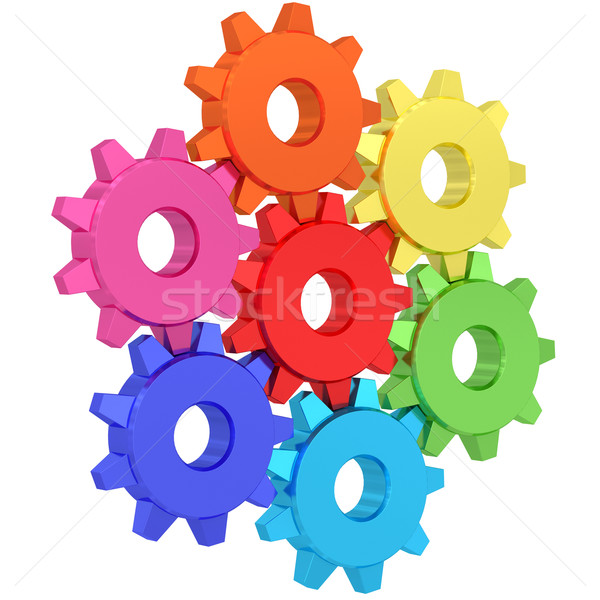 Colorful gear wheels isolated on white Stock photo © oneo