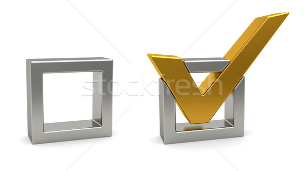 Golden check mark and silver check box on white background Stock photo © oneo