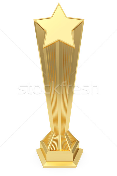 Gold star prize on pedestal with blank plate Stock photo © oneo