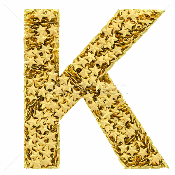 Letter K composed of golden stars isolated on white Stock photo © oneo