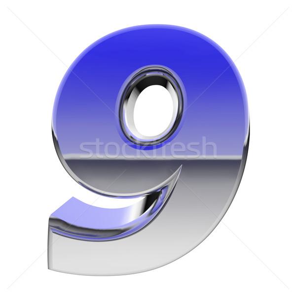 Chrome nombre couleur gradient réflexions isolé Photo stock © oneo